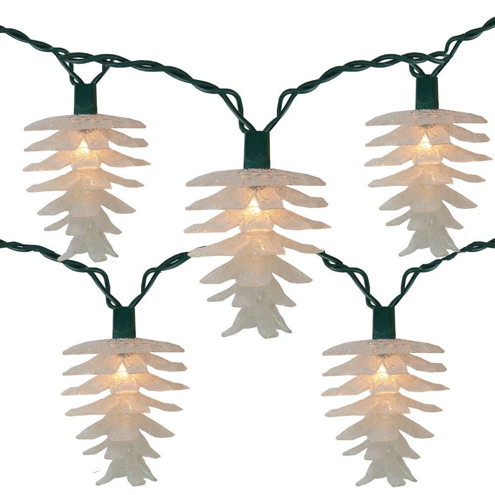 10 White Glitter Pine Cone Christmas Lights - 11.5 ft Green Wire (White - Plastic)