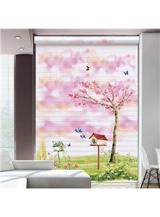 Romantic Pink Flower Tree in Wilderness Printing Shangri-La Blind & Roman Shades