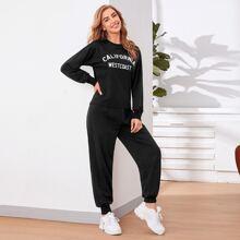 Pullover mit sehr tief angesetzter Schulterpartie, Buchstaben Grafik & Jogginghose Set