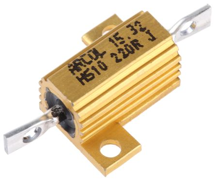 Arcol HS10 Series Aluminium Housed Axial Wire Wound Panel Mount Resistor, 220Ω ±5% 10W