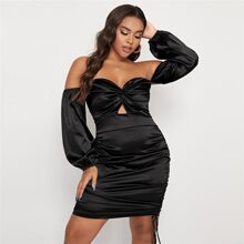 Plus Twist Peekaboo Front Drawstring Side Bardot Satin Dress