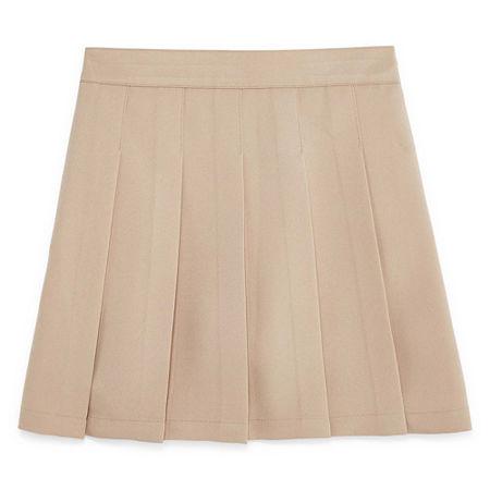 IZOD Comfort Waistband Little & Big Girls Scooter Skirt, 8 , Beige