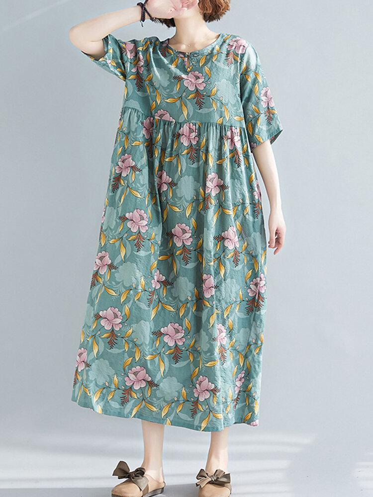 Flowers Print Loose Short Sleeve Dress for Women