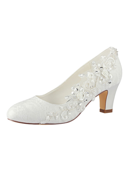 Milanoo Lace Wedding Shoes Ivory Round Toe Rhinestones Slip On Bridal Shoes