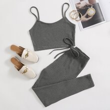 Solid Cami Top & Knotted Waist Leggings Set