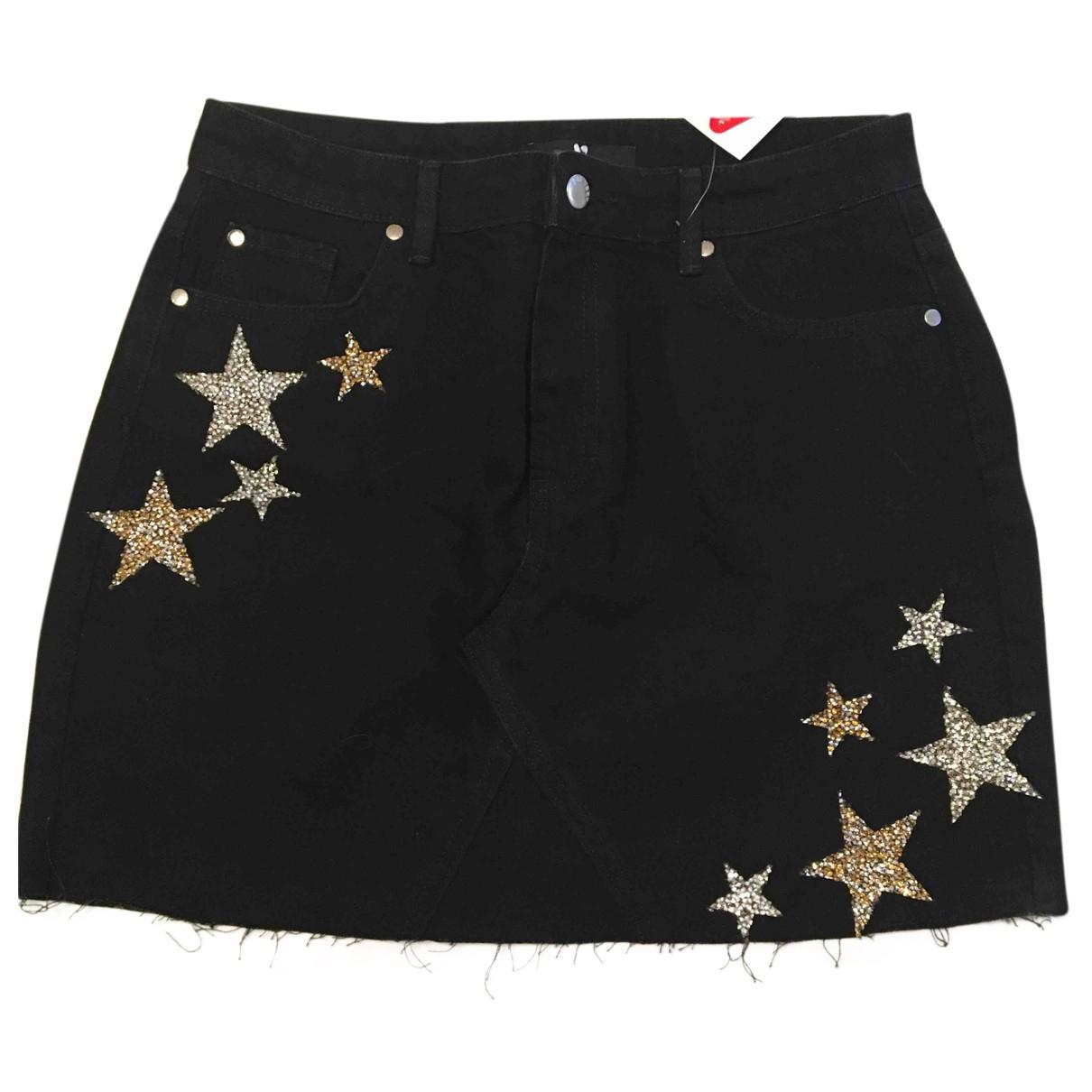 Non Signé / Unsigned N Black Cotton skirt for Women 12 UK