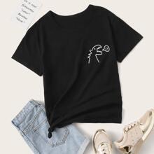 Camiseta de manga corta con patron de dibujo
