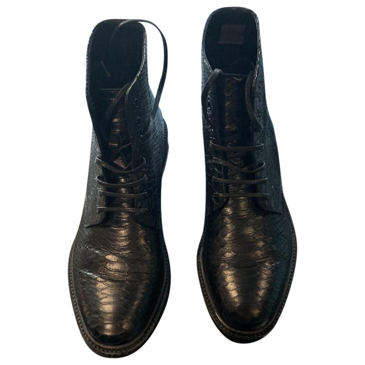 Saint Laurent - Boots   pour femme en cuir exotique - noir