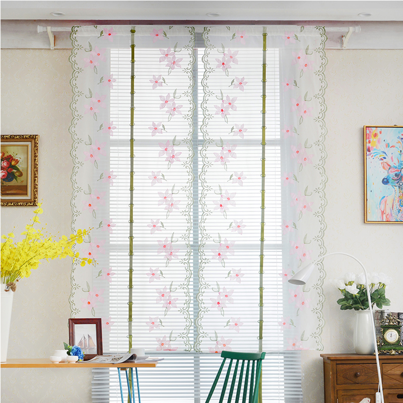 Blackout and Decoration Beautiful Peach Blooms Silk Embroidery Country Style Roman Sheer Shade