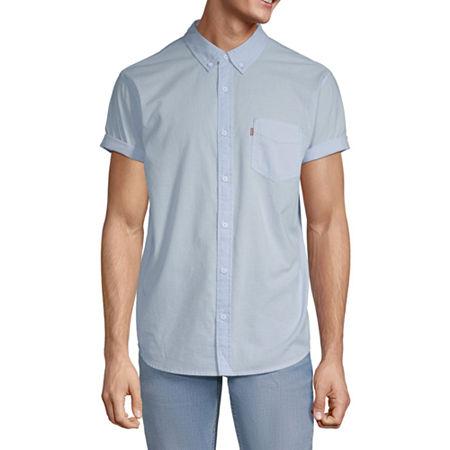 Levis Mens Short Sleeve Button-Down Shirt, Large , Blue