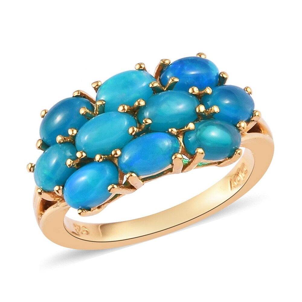 925 Vermeil Yellow Gold Over Silver Opal Cluster Ring Size 6 Ct 1.6 - Ring 6 (Yellow - Opal - Yellow - Ring 6)