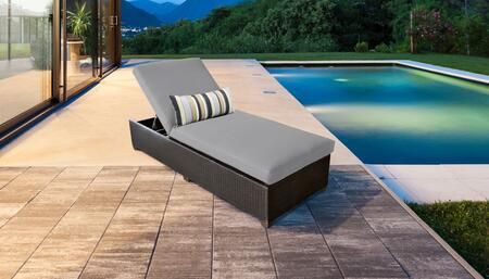 Belle Collection BELLE-1x-GREY Wicker Patio Chaise - Wheat and Grey