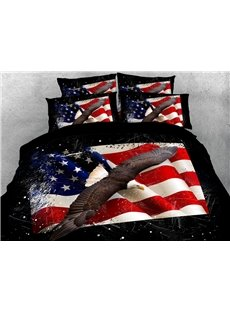 American The Stars And The Stripes Flying Eagle Pattern Animal Printed Soft Lightweight 3D Duvet Cover Set 4-Piece Bedding Set