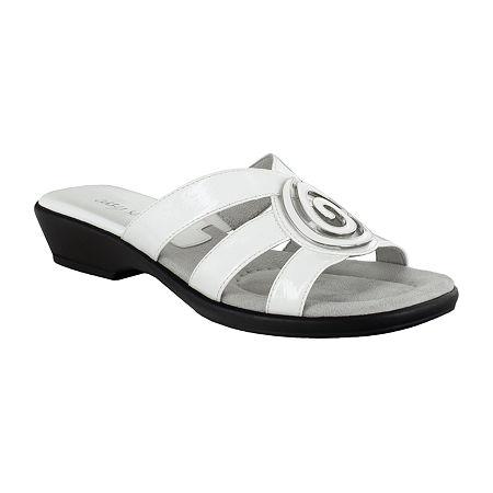 Easy Street Womens Thrive Slide Sandals, 7 1/2 Medium, White