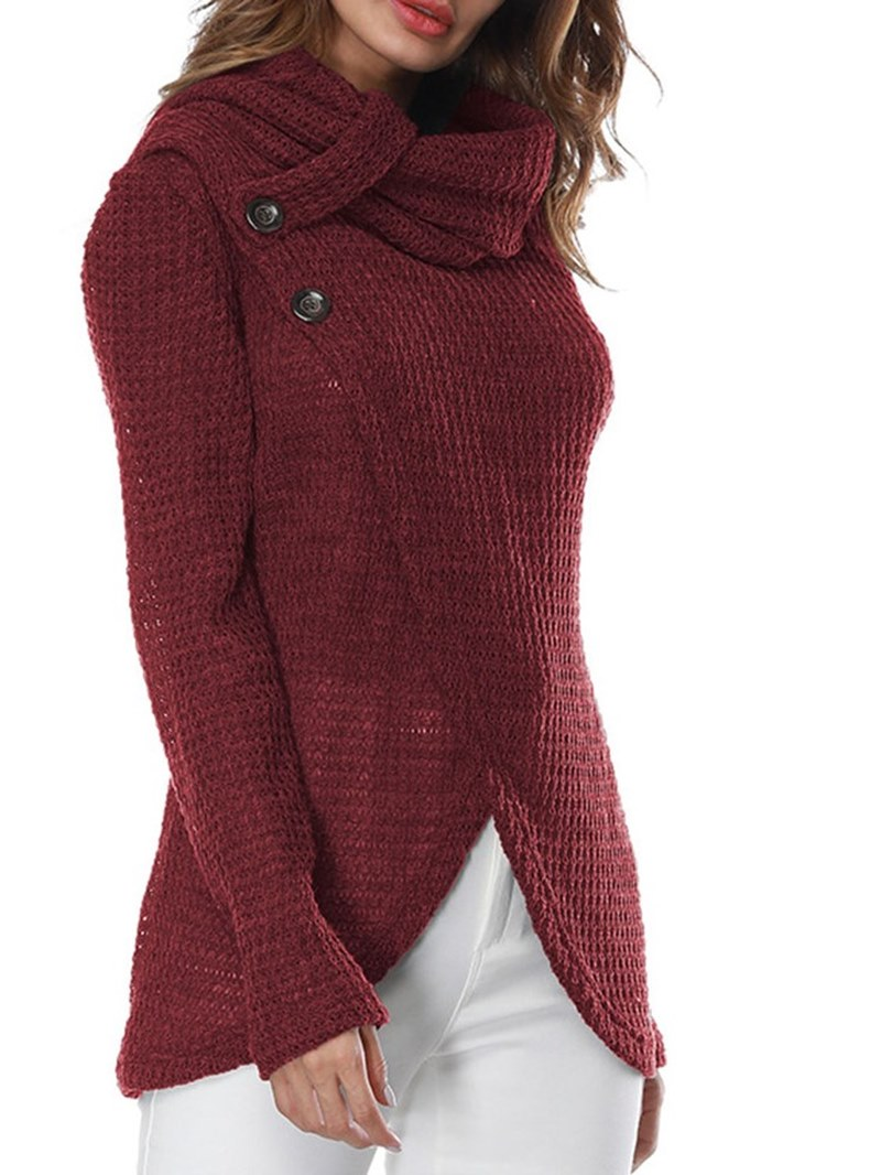 Ericdress High Neck Asymmetric Plain Long Sleeves Knitwear