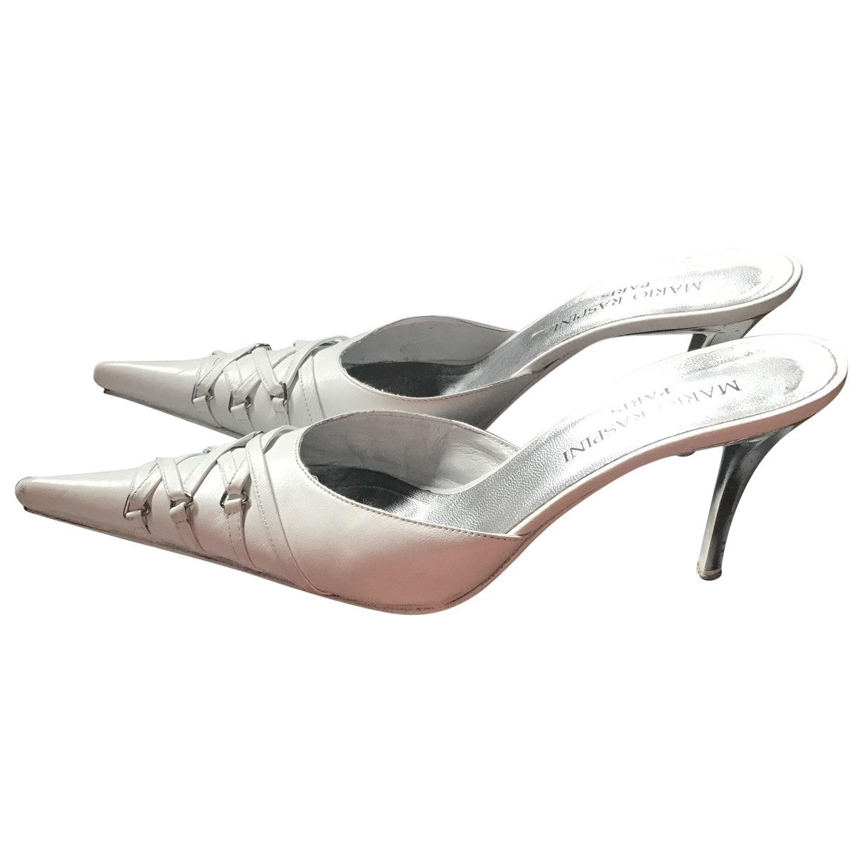 Non Signé / Unsigned \N White Leather Heels for Women 38 EU