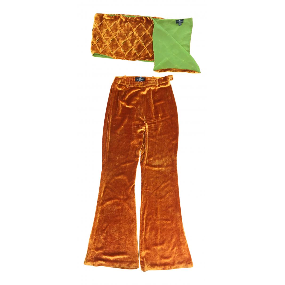 Etro \N Gold Velvet Trousers for Women 42 IT