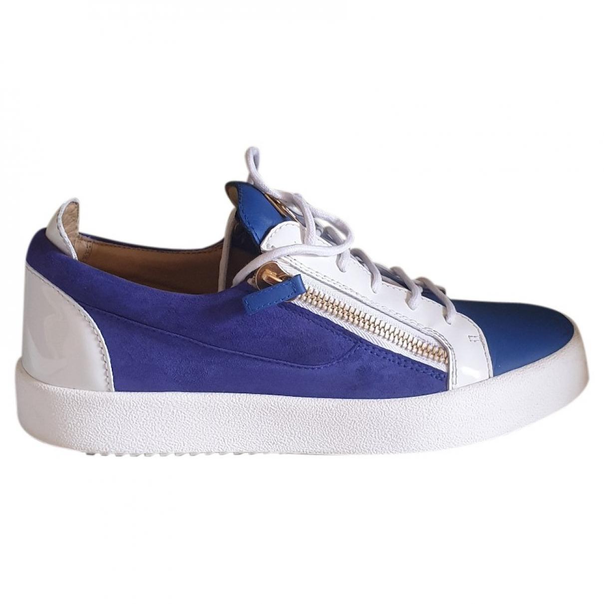 Giuseppe Zanotti - Baskets   pour homme en suede - bleu