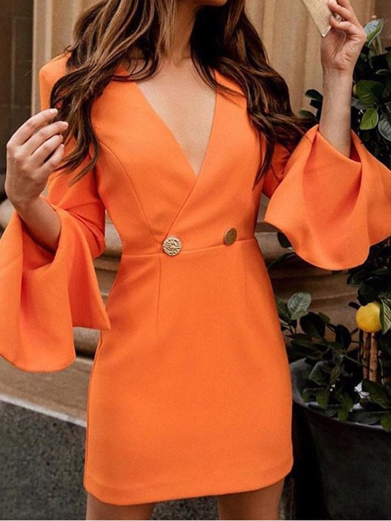 Ericdress V-Neck Long Sleeve Above Knee A-Line Date Night/Going Out Dress