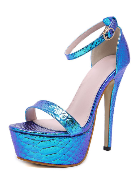 Milanoo Women Platform Sandals Iridescent Fish Scale Pattern High Heel 5.7 Sexy Shoes