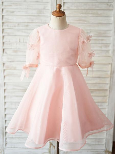 Milanoo Flower Girl Dresses Jewel Neck Short Sleeves Kids Pink Social Party Dresses