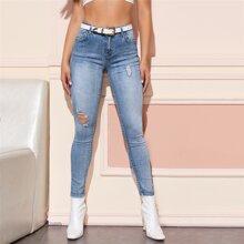 Slant Pocket Ripped Skinny Jeans Without Belt