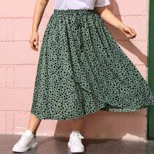Plus Elastic Waist Asymmetrical Hem Dalmatian Skirt