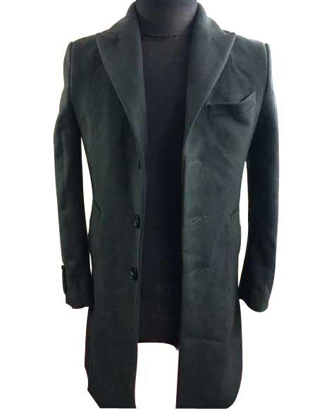 Men's Three Buttons Olive Peak Lapel Single Breasted Wool Overcoat