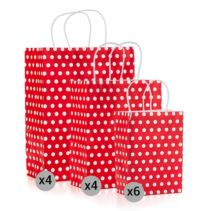 Gift Kraft Paper Polka Dot Bag Set of 14 Pieces, Small, Medium, Large Size, Red - LIVINGbasics™