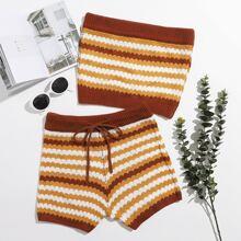 Striped Tube Knit Top & Drawstring Waist Shorts Set
