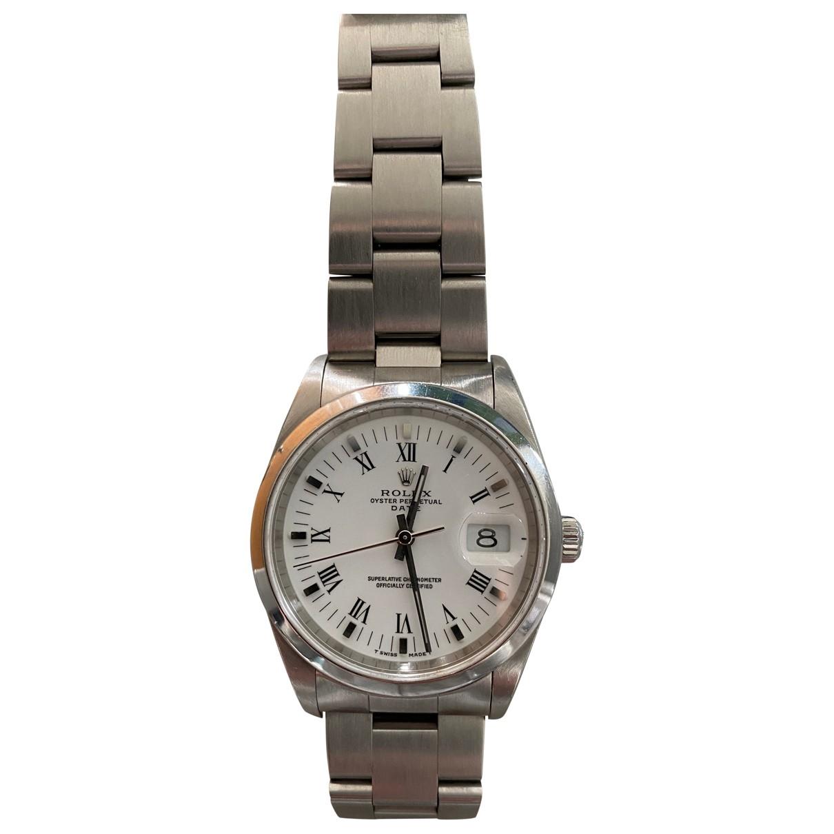 Rolex Oysterdate 34mm Uhr in  Grau Stahl