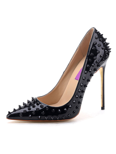 Milanoo Women's Pumps Slip-On Pointed Toe Stiletto Heel Rivets Spike Heel Pumps