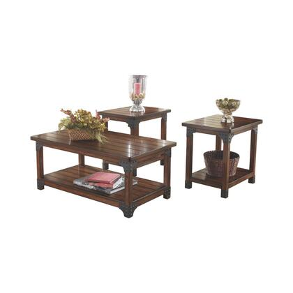 BM190129 Wooden Table Set with Lower Shelf and Metal Brackets  Set of Three  Brown and