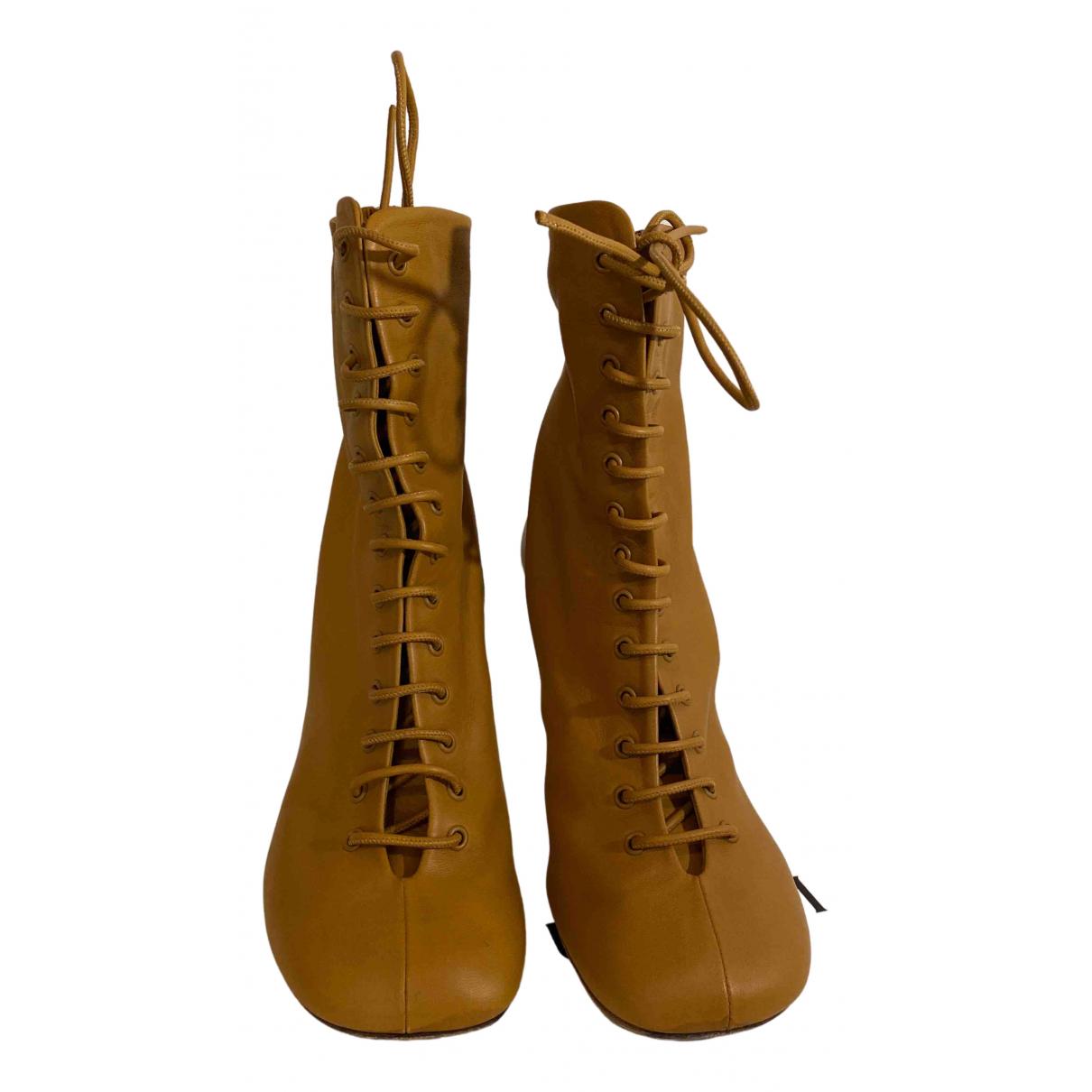 Celine - Boots   pour femme en cuir - camel