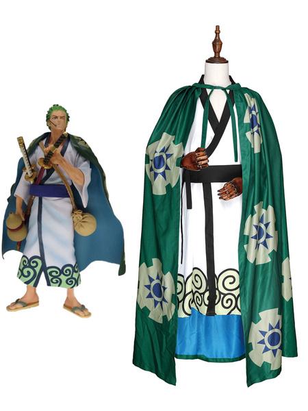 Milanoo One Piece Wano Country Arc Roronoa Zoro Kimono Cosplay Costume