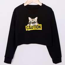Crop Sweatshirt mit Katze und Buchstaben Grafik