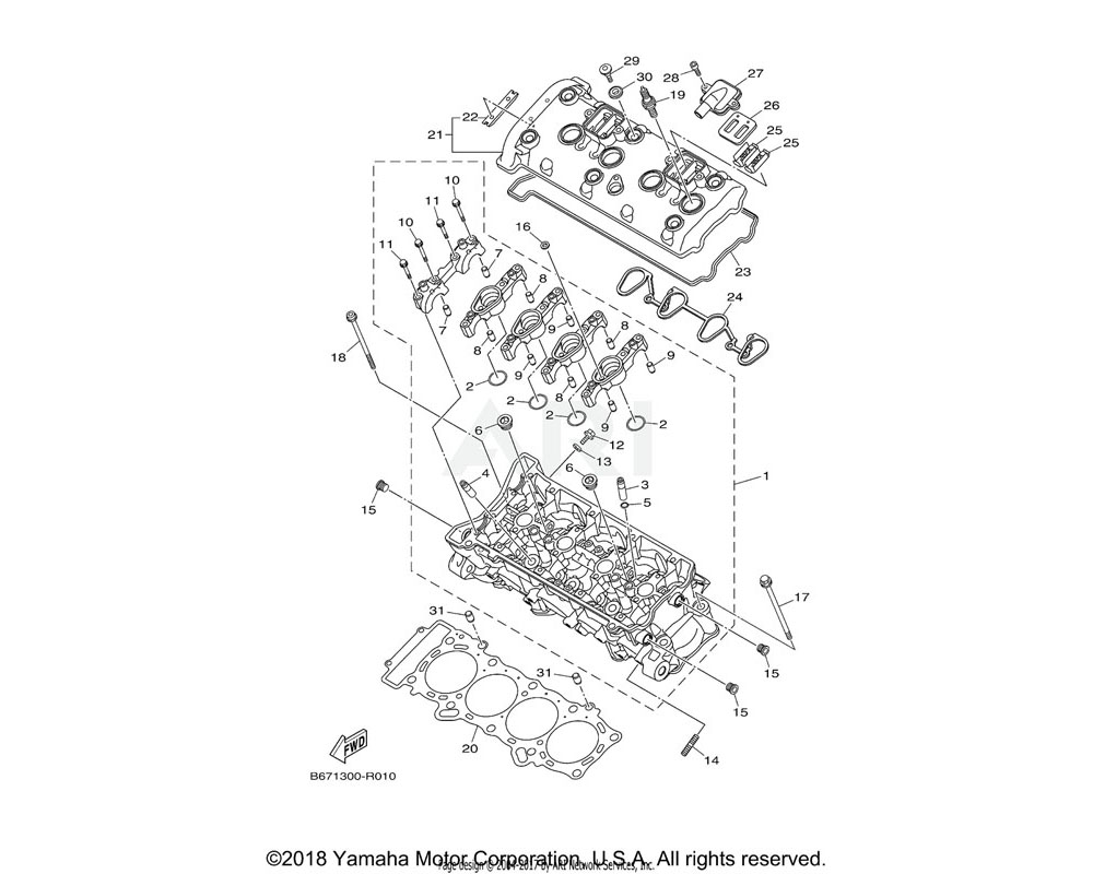 Yamaha OEM 2CR-11133-10-00 GUIDE, VALVE 1