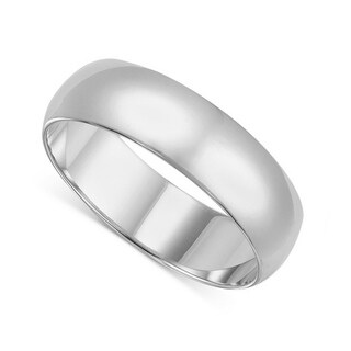14k Yellow or White Gold Standard Fit Men and Women's 6 mm Wedding Band (10.5 - White)