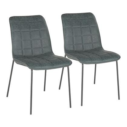 CH-INDYQUAD BKGN2 Indy Quad Industrial Chair in Black Metal and Green Faux Leather- Set of