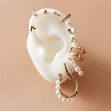 Ohrringe mit Kunstperlen Dekor 12 Stuecke