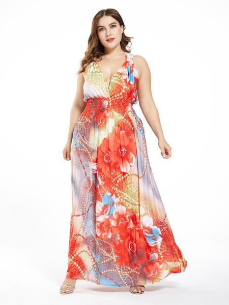 Yoins Plus Size Random Floral Print Deep V Neck Sleeveless Rayon Dress