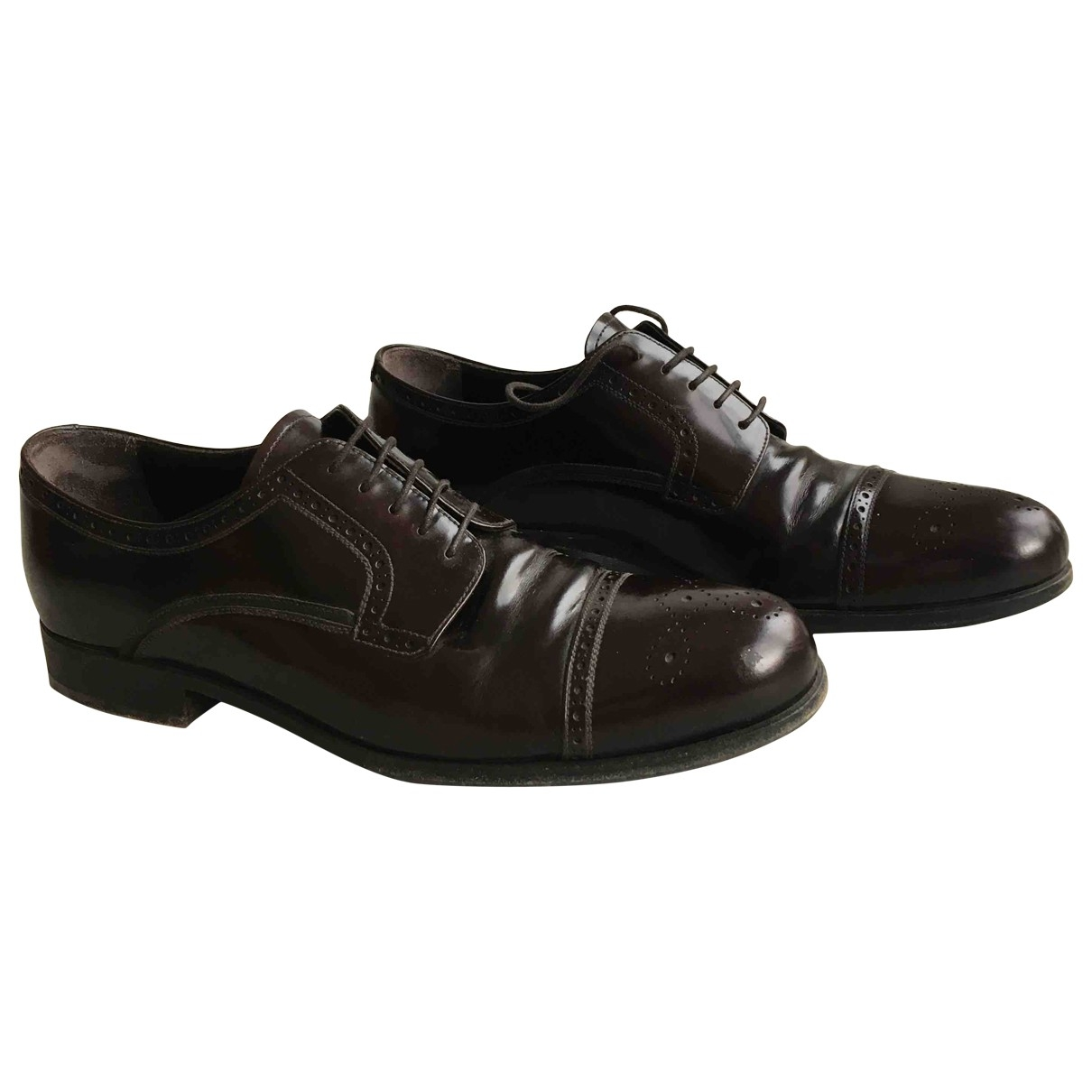 Prada \N Brown Leather Lace ups for Men 9 UK