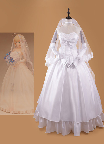 Milanoo Fate Stay Night Saber Halloween Cosplay Costume Wedding Dress Halloween