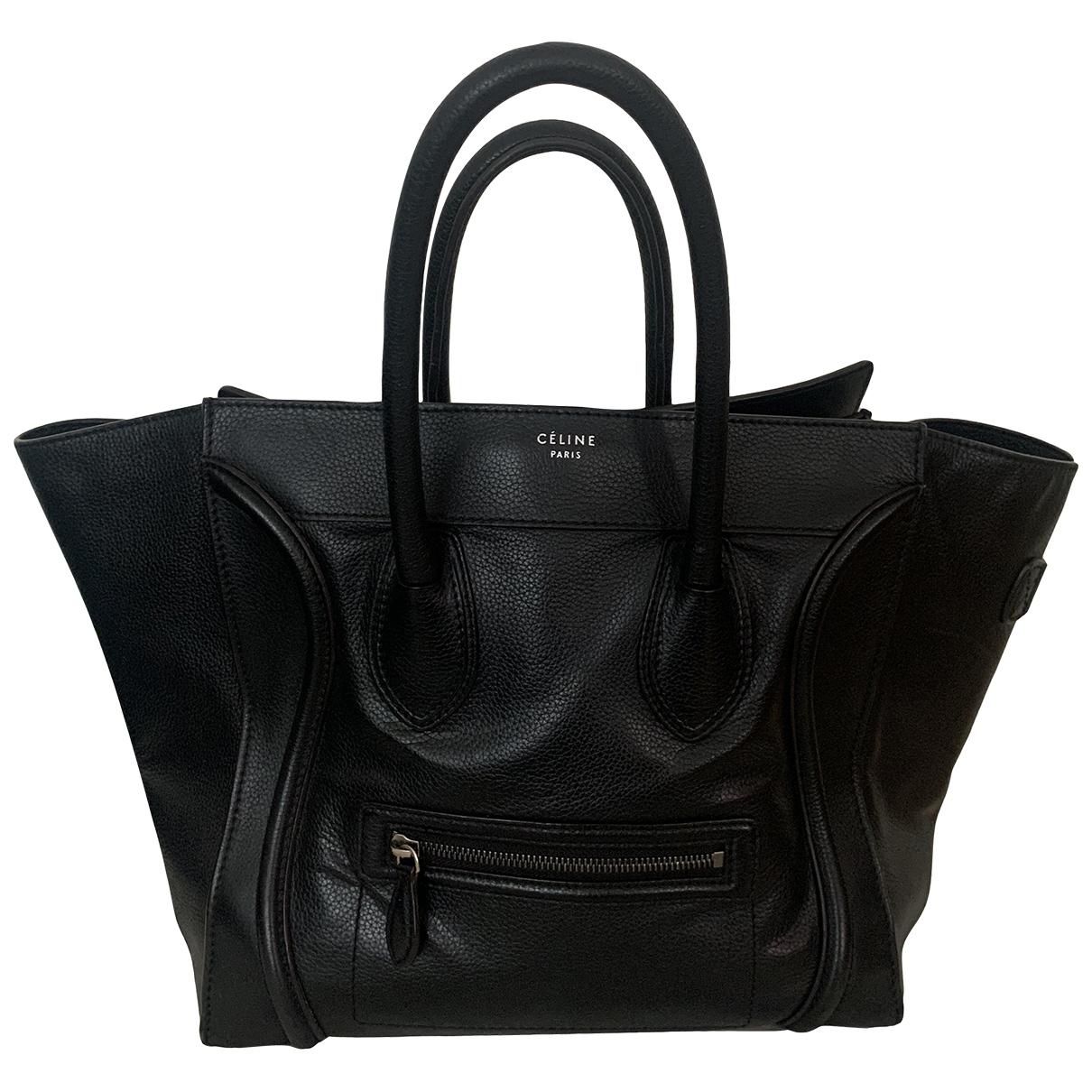 Celine Luggage Handtasche in  Schwarz Leder