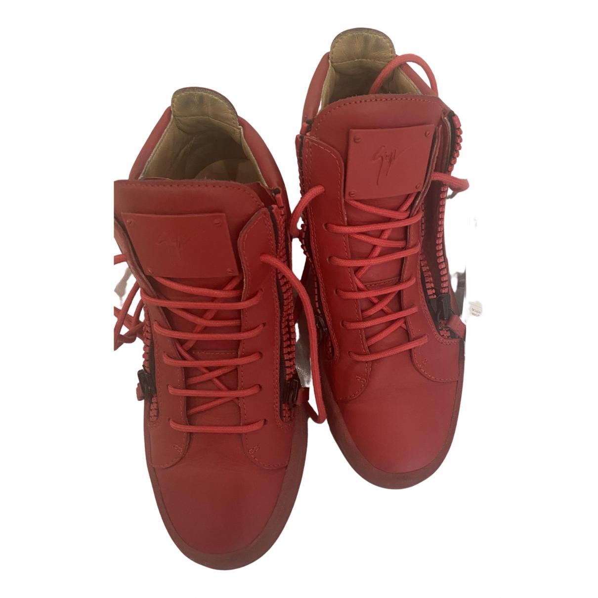 Giuseppe Zanotti - Baskets   pour femme en cuir - rouge