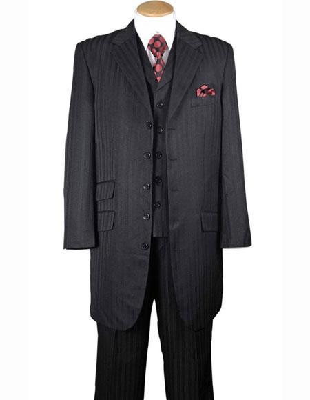 Black Notch Lapel 4 Buttons Tonal Striped 3Piece Vested Zoot Suit