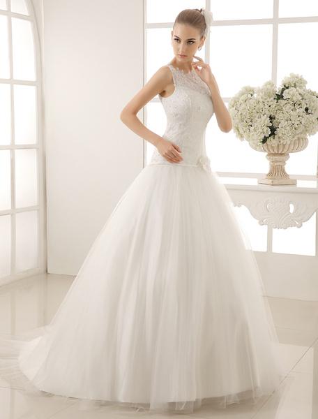 Milanoo Vestido de novia marfil con escote redondo y flor