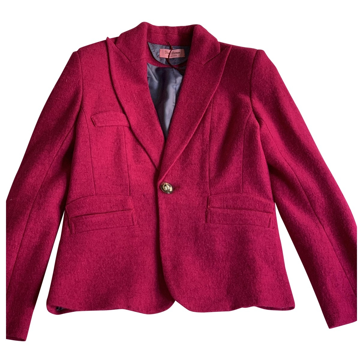 Non Signe / Unsigned Epaulettes Jacke in  Rosa Wolle