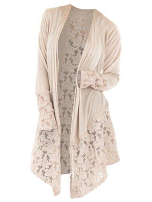 Plus Size Lace Insert Longline Cardigan
