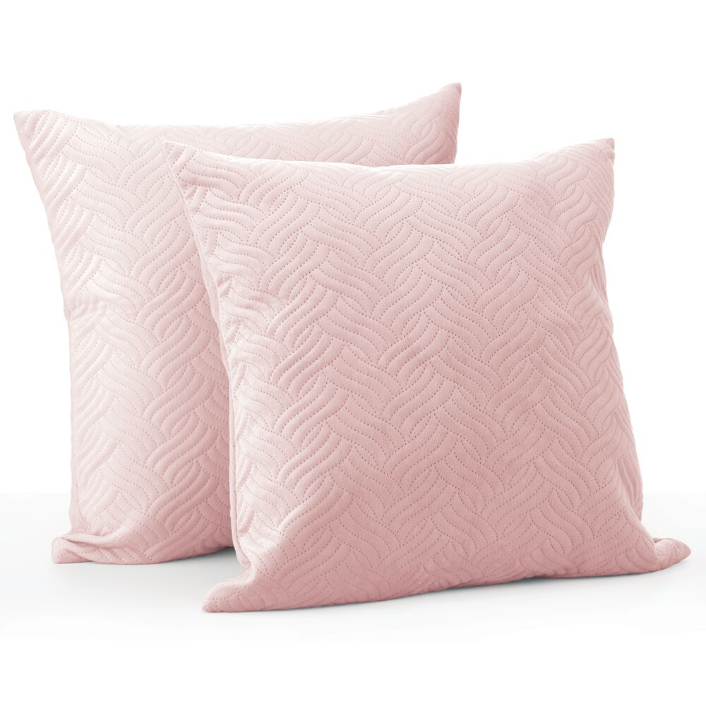 Hypoallergenic Square Throw Pillow Covers, Pack of in Blush, by mDesign